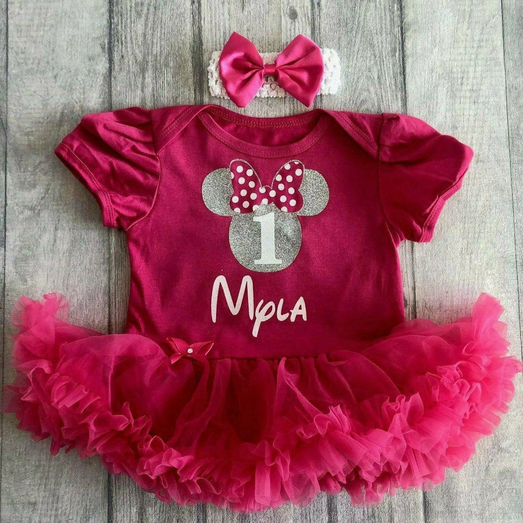 Minnie Mouse 1st Birthday Personalised Baby Girl tutu romper with matching headband