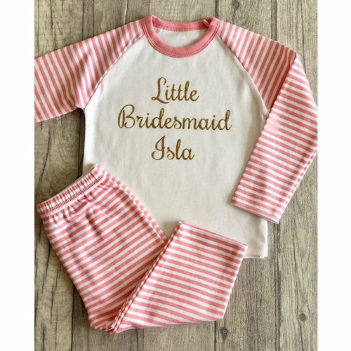 Little Bridesmaid personalised Wedding Pink and White Girls Pyjamas