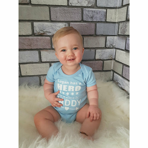 Personalised 'Has A Hero His Name Is Daddy' Baby Boy or Girl Short Sleeve Romper