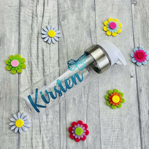 Personalised name glitter water gym bottle with butterfly
