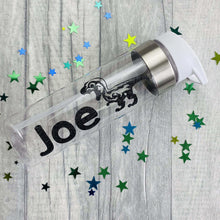 Personalised name glitter water gym bottle with dinosaur