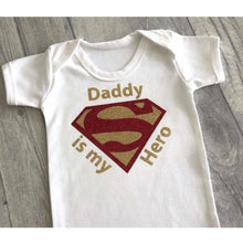 Daddy is my Hero Superman baby boy romper suit, Father's Day Gift