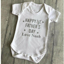 Baby boy personalised Happy 1st Father's Day short sleeve romper