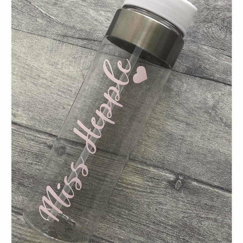 School Teacher Personalised Name With Heart Water Gym Bottle