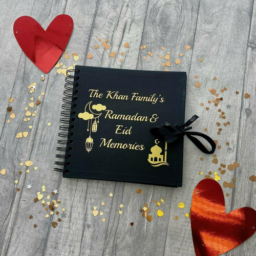 Personalised 'Family Name' Ramadan and Eid Memories Scrapbook Moon, Lantern, Mosque Design