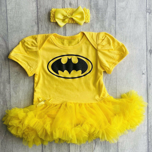 Glitter Batman tutu romper with matching bow headband baby girl superhero dress