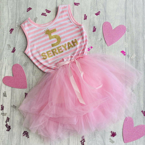 Personalised Number 1st, 2nd, 3rd, 4th, 5th Crown Birthday girls light pink stripe dress