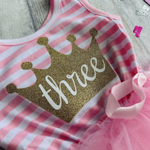3rd Birthday girls light pink striped princess crown summer party dress with bow on front