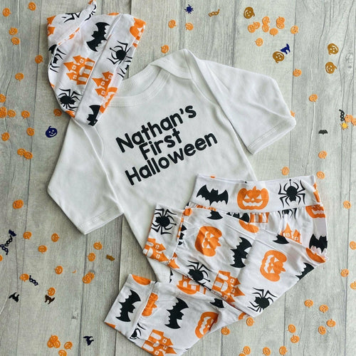 Personalised baby First Halloween long sleeve romper set complete with pumpkin halloween print pants and hat