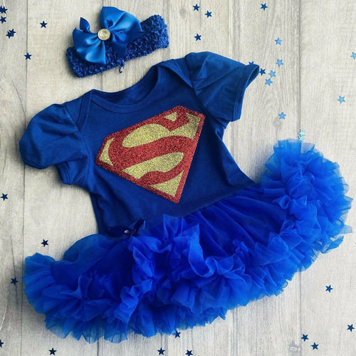 Baby girl Superman Tutu Romper With Matching Bow Headband, baby superhero dress