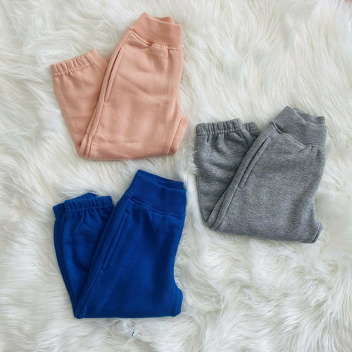 Baby & Kids Joggers cuffed ankle leggings Grey, Blue or Pink