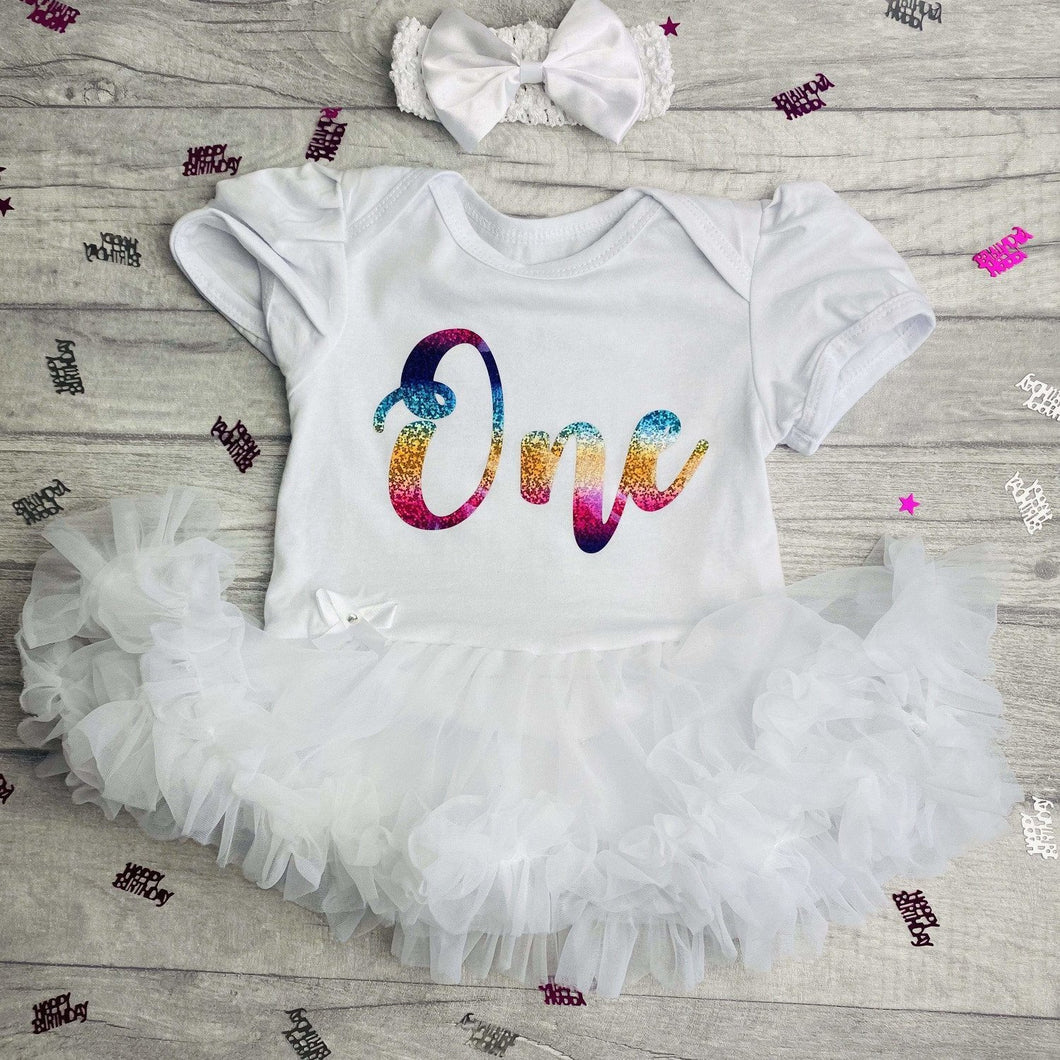 Baby Girl's 1st Birthday Tutu Romper Rainbow One Design With Matching Bow Headband