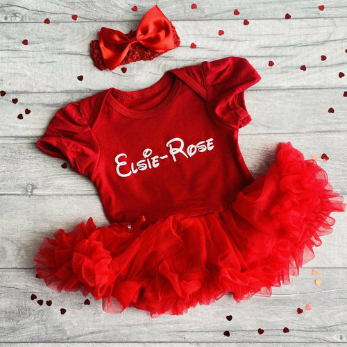 Disney Name Baby Girl Personalised tutu romper dress with headband
