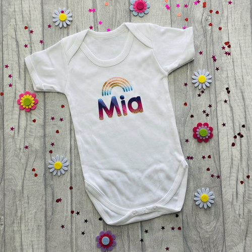 Personalised Short Sleeved White Romper with Rainbow Design, Rainbow Baby