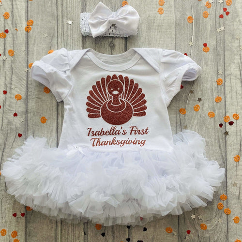 Personalised Baby Girl First Thanksgiving Tutu Romper with Matching Bow Headband Turkey Design