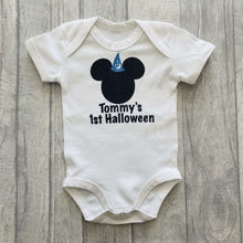Baby Boy's Personalised Disney 1st Halloween short sleeve Romper, Fantasia Mickey Mouse
