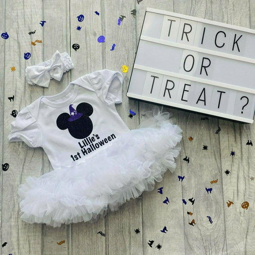Personalised 1st Halloween Baby Girl Minnie Mouse Witch Tutu Romper with Bow Headband, Mickey Fantasia Disney