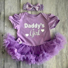'Daddy's Girl' Baby Girl Tutu Romper With Matching Bow Headband, White Glitter Design, Father's Day Outfit