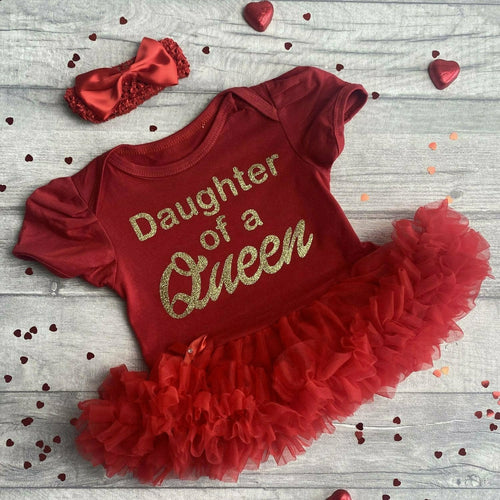 'Daughter Of A Queen' Baby Girl Tutu Romper With Matching Bow Headband