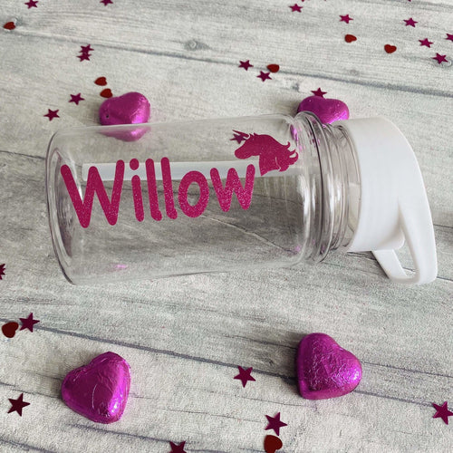 Small Personalised Unicorn Children's School Water Bottle