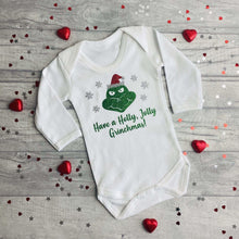"White Long Sleeved Romper with Grinch Design, ""Have a Holly, Jolly Grinchmas"""