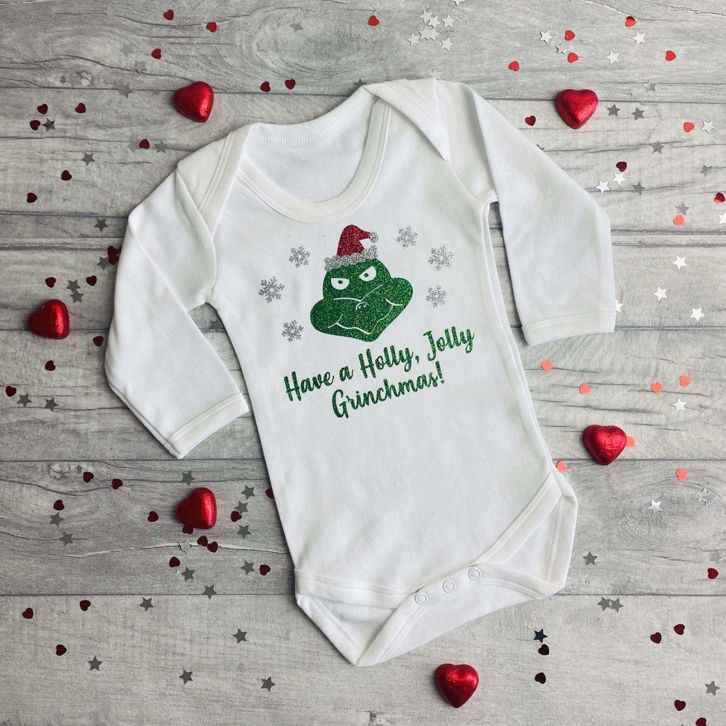 White Long Sleeved Romper with Grinch Design,