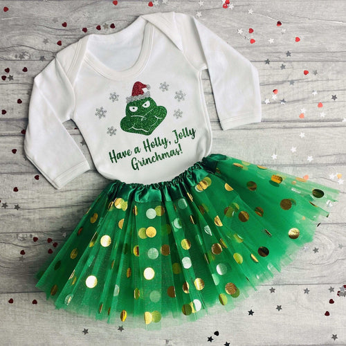 Christmas Outfit Grinch Design, Long Sleeved Romper with Tutu, Grinchmas