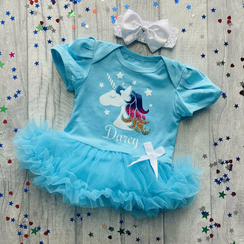 Personalised Unicorn Baby Girl Tutu Romper with Bow Headband