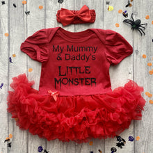 'I'm Mummy & Daddy's Little Monster' Baby Girl Tutu Romper With Matching Bow Headband, Halloween