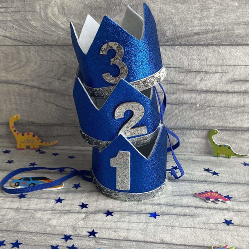 Birthday Boy Blue Glitter Prince Crown in for 1st, 2nd and 3rd birthdays
