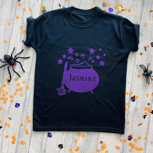 Personalised Cauldron Halloween T-Shirt Witchy Design