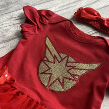 Captain Marvel Superhero Baby Girl Tutu Romper with headband