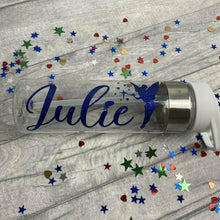 Personalised Name Glitter Water Gym Bottle With Tinker Bell Fairy