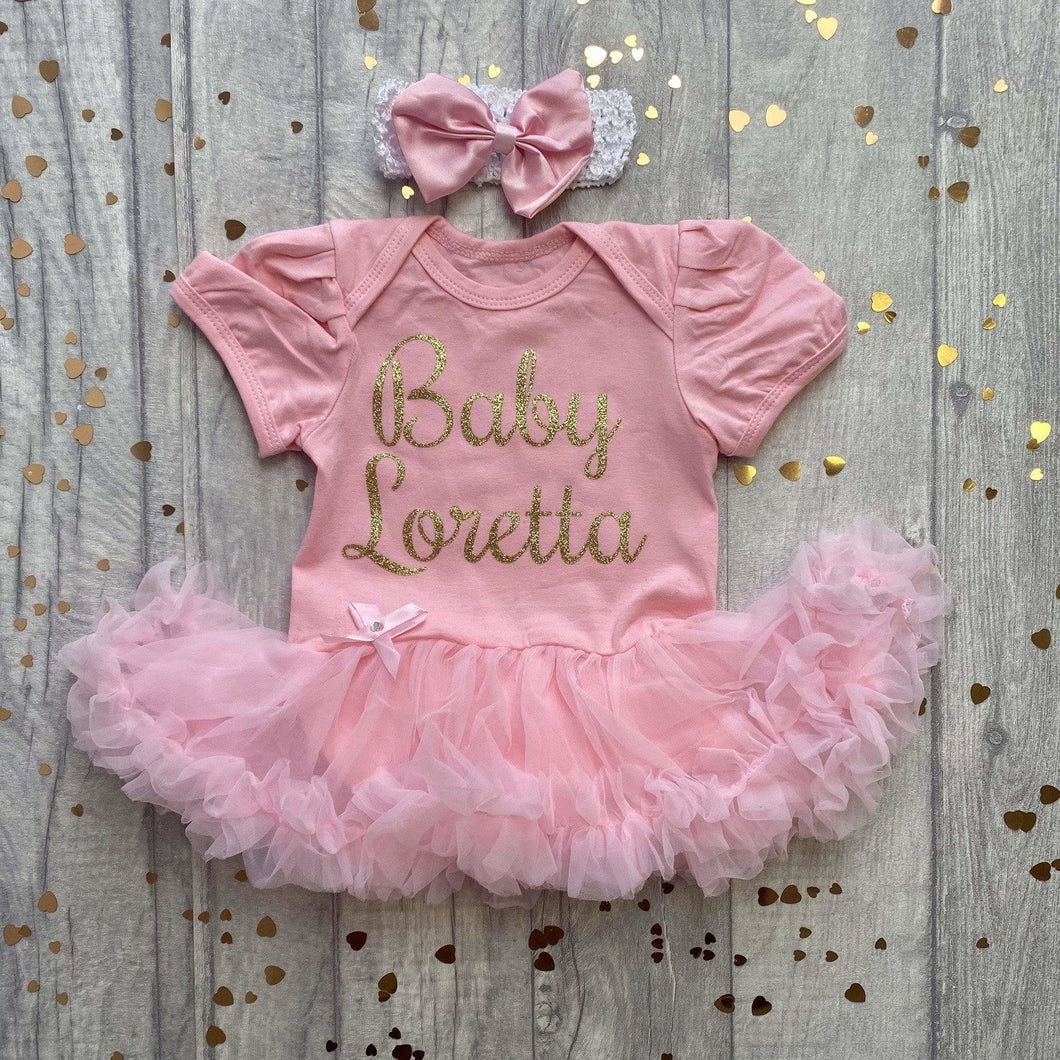 Personalised Baby Surname / forename  tutu romper suit with matching headband