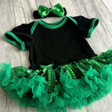 Custom Your Own Black & Green Sequin Tutu Romper with Matching Bow Headband (Different style & colour fonts)