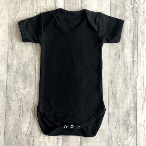 Short Sleeved Black Baby Boy's Plain Romper Newborn