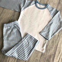 Custom Your Own Blue Stripe Boys Pyjamas (Choose Text Style & Colour)
