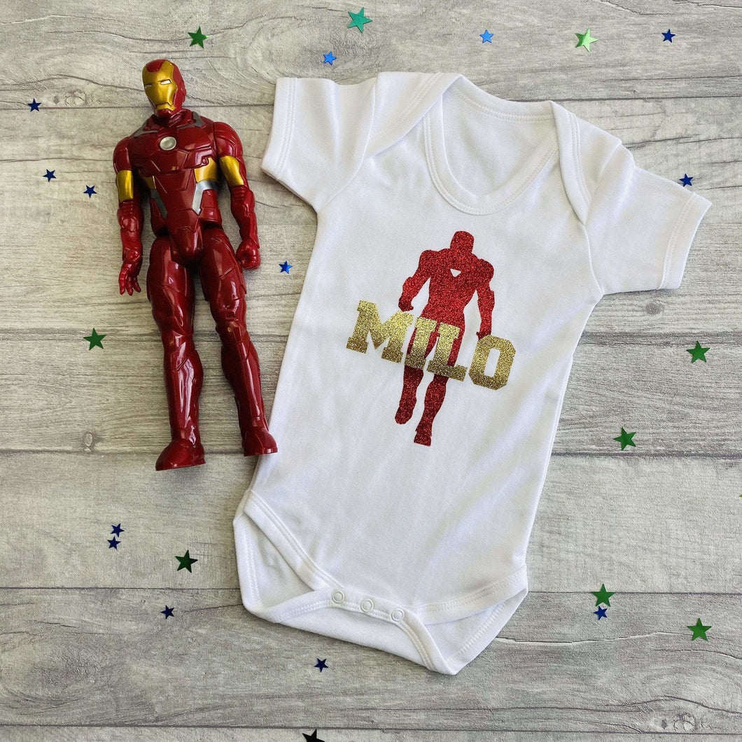 Personalised Iron Man Baby Boy Romper Marvel Superhero