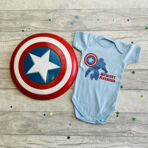 Newest Avenger Captain America Newborn Baby Boy Romper, Marvel Superhero