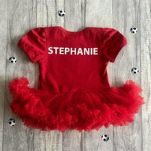 Personalised Baby Girl's Football Liverpool's Cutest Fan Name on back Red tutu romper with bow headband