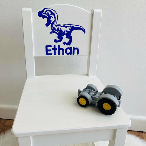 Personalised Girl or Boy Dinosaur Design gift wooden nursery chair