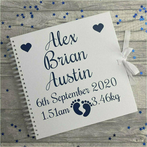 Personalised White Baby Newborn Christening Scrapbook Gift 12x12 inch