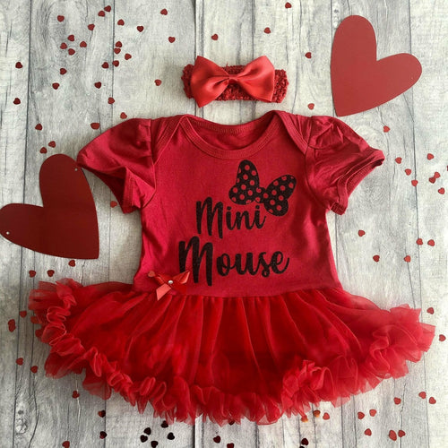 Baby Girls Mini Mouse Bow tutu romper with headband, Disney Minnie Mouse