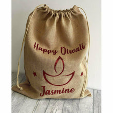 Happy Diwali Hessian Personalised Hindu Celebration Gift Present Sack
