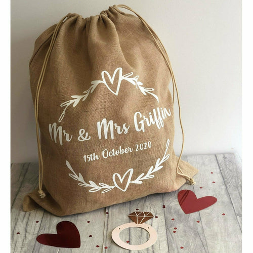 Personalised Hessian Mr & Mrs Wedding Card & Gift Sack