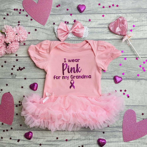Personalised I Wear Pink For My...Tutu Romper with Matching Bow Headband, Breast Cancer Awareness