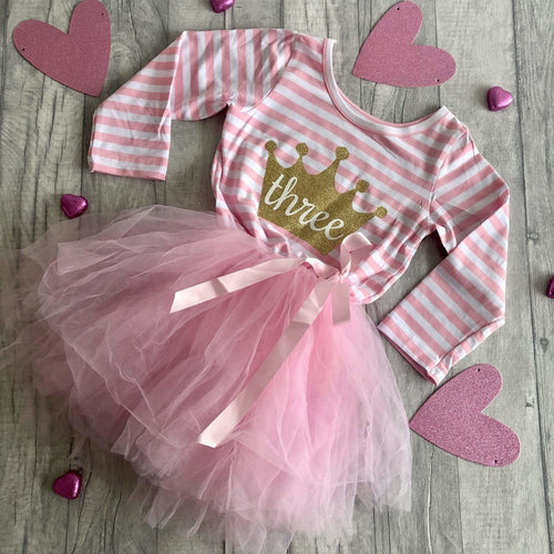 3rd Birthday Princess Crown Long Sleeve Tutu Dress - Age 3 years