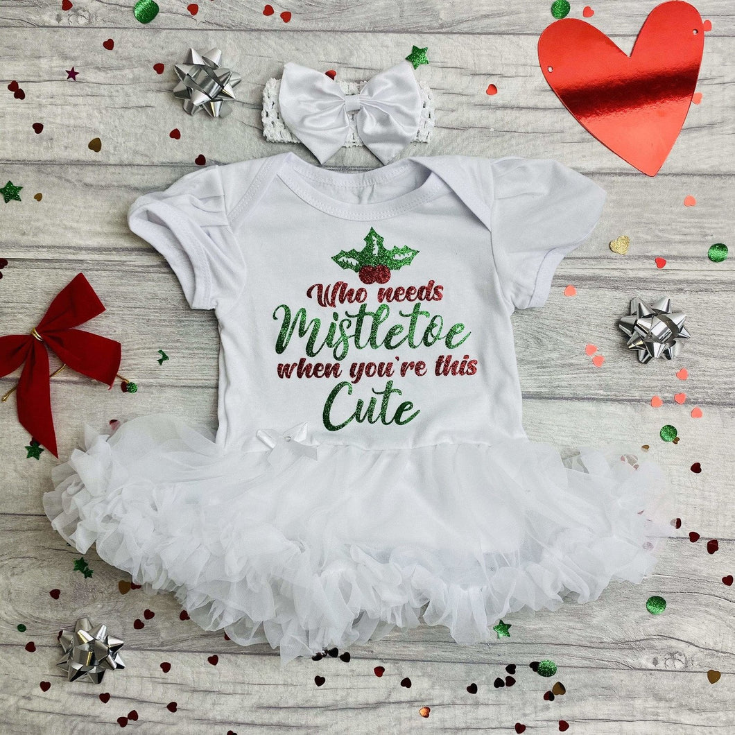 Who Needs Mistletoe When You're This Cute Tutu Romper with Matching Bow Headband