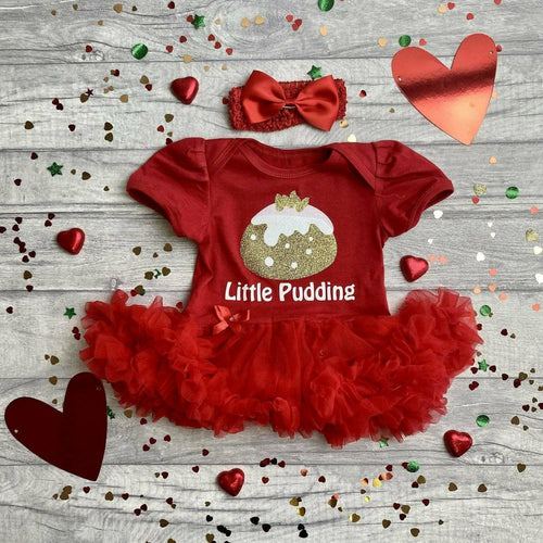 'Little Pudding' Baby Girl Tutu Romper With Matching Bow Headband, Christmas Outfit