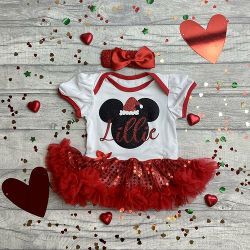 Personalised Minnie Mouse Christmas Sequin Tutu Romper with Matching Bow Headband, Disney